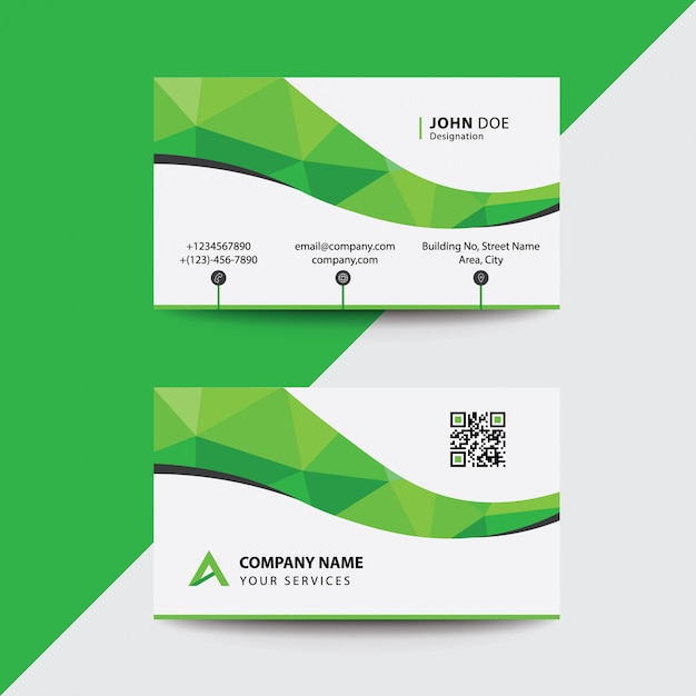 Download Free Flat Clean Corporate Business Flyer Template: Clean Flat Design Green Wave Corporate Business Visiting