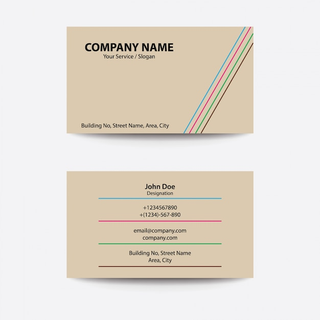 Clean Flat Design Line Style Multi Color Business Visiting Card Premium Vector