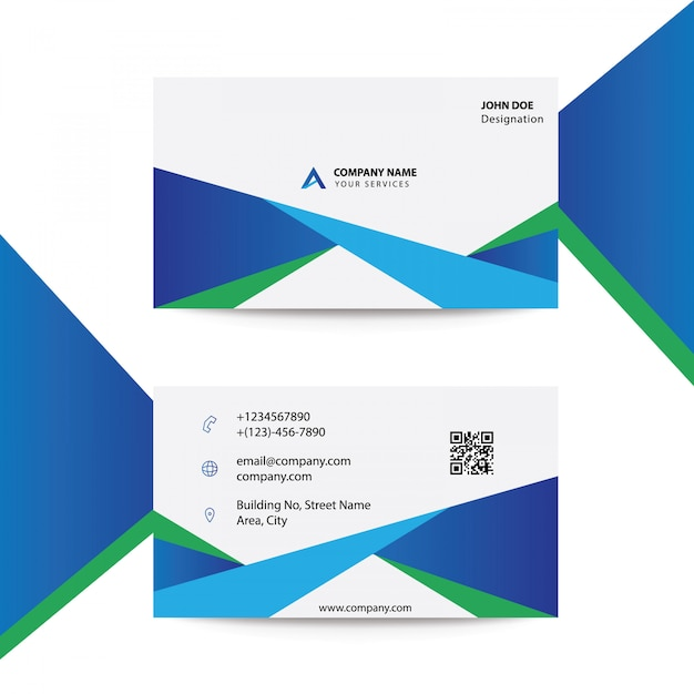 Clean flat modern corporate blue color busines card template Premium Vector
