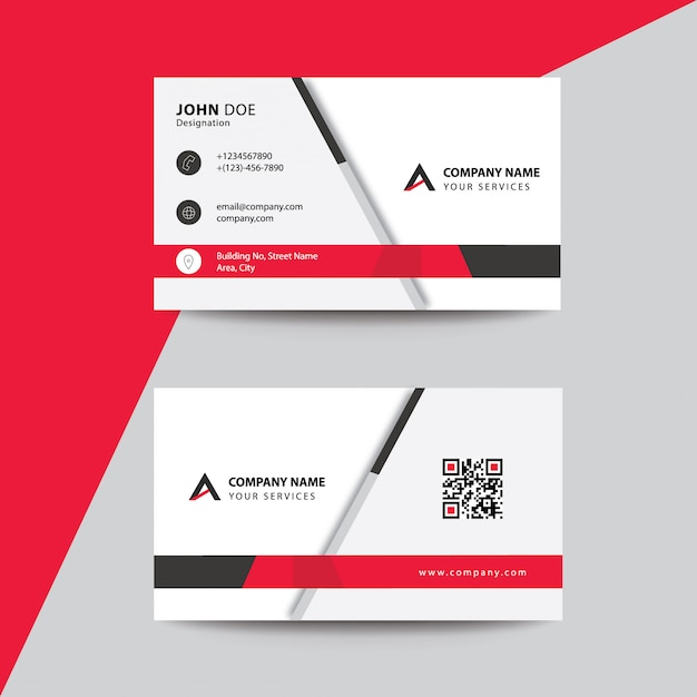 Clean flat premium minimal style red black corporate business visiting card Premium Vector