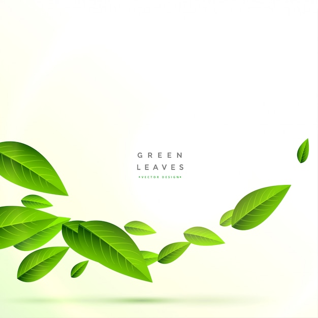Clean flying green leaves background Free Vector