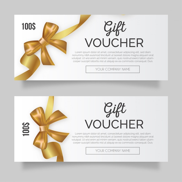 Clean gift voucher with golden ribbon Free Vector