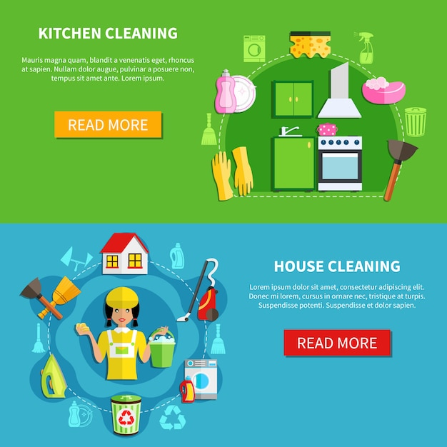 Clean the house banners Free Vector
