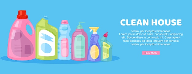 Clean house, inscription on bright banner,internal housework, advertising household,  in cartoon   illustration. Premium Vector