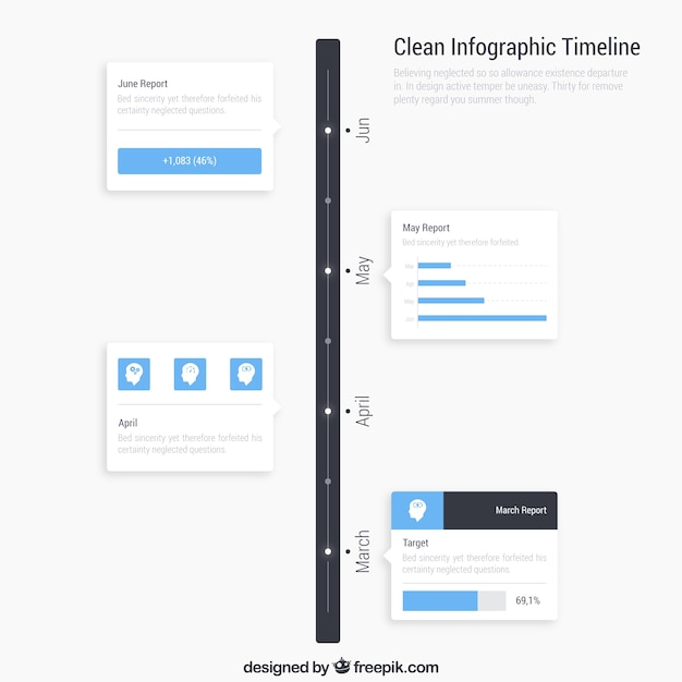 Clean infographic timeline Free Vector