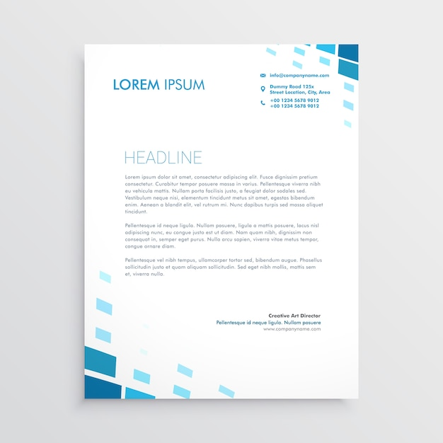Clean Corporate Letterhead Template: Clean Letterhead Design With Abstract Blue Shapes Vector