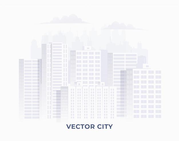 白い背景の上のきれいな明るい白い色の街のシルエット。バナーやインフォグラフィックのダウンタウンの街並みのイラスト。図。 Premiumベクター