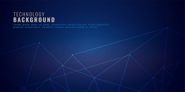 Clean low poly network lines technology background Free Vector