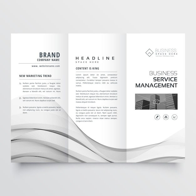 Clean minimal trifold brochure template layout Free Vector