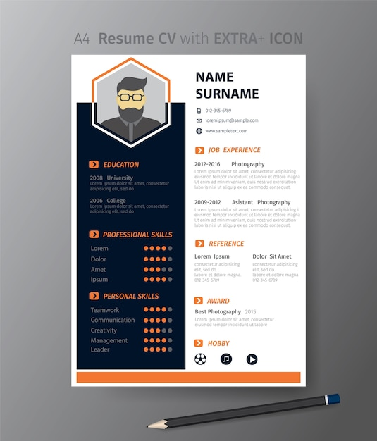 Clean modern design template of resume or CV Vector | Premium Download