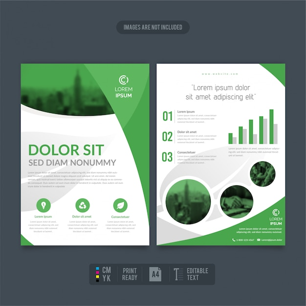 Clean and modern eco-friendly business flyer reports Premium Vector