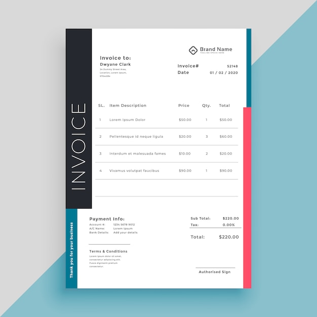 Clean modern invoice business template Free Vector