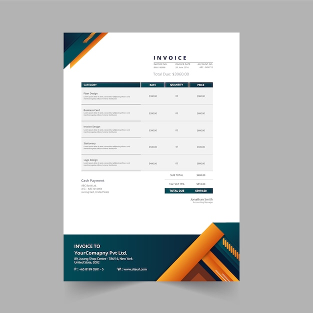Clean modern invoice business template Premium Vector