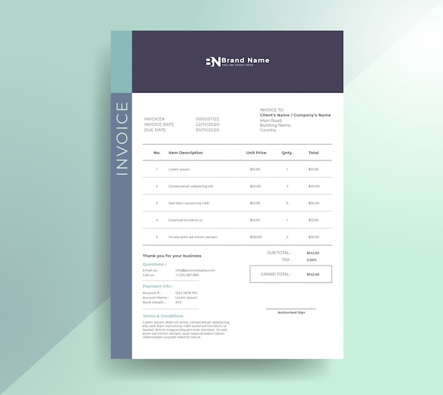 Clean modern invoice template Premium Vector