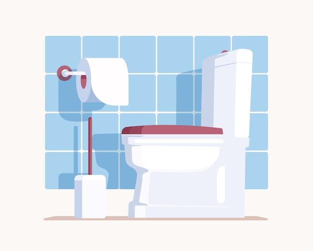 白いセラミックの便座、紙、ブラシでモダンなトイレを掃除してください。壁に青いタイルが付いているトイレ。フラットスタイルで。 Premiumベクター