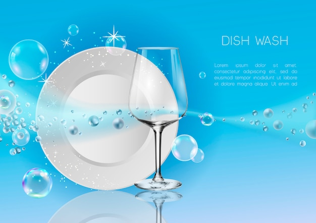 A clean plate and wine glass in soap bubbles and water splash. Premium Vector