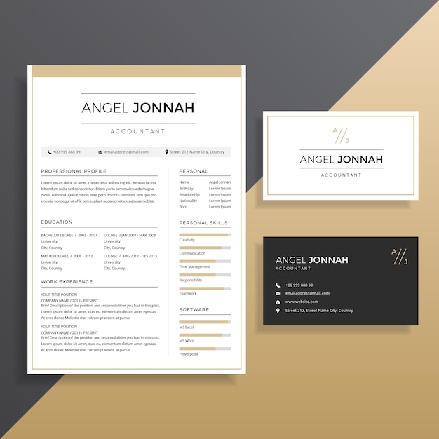 Clean professional Resume CV with Business Card Template Design ...
