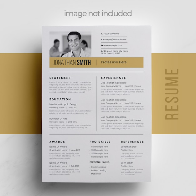 Clean resume with simple graphic elements Premium Vector