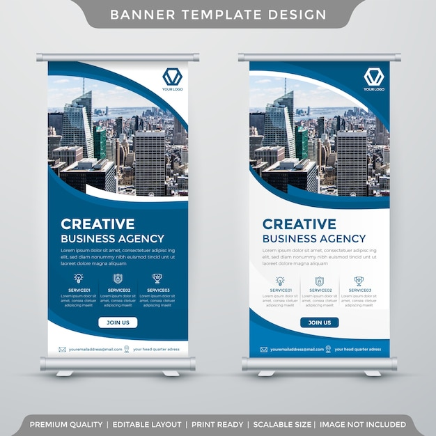 Clean roll up banner template Premium Vector
