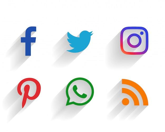 Clean set of social media logos Free Vector