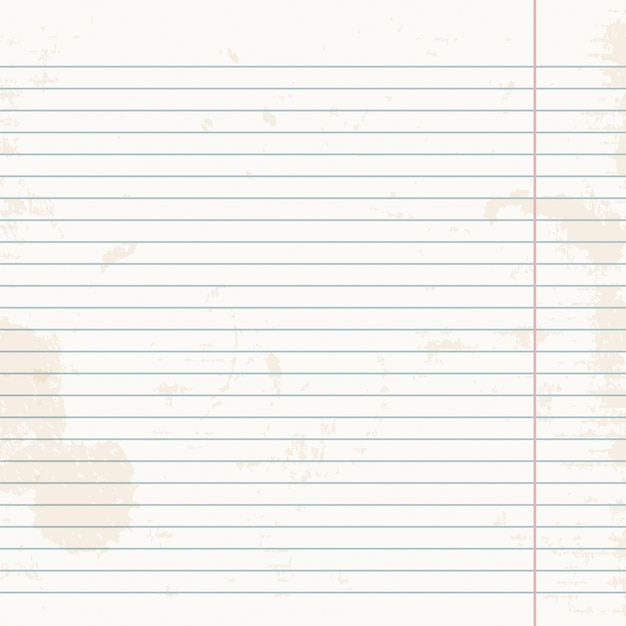 Clean sheet of exercise book striped. Premium Vector