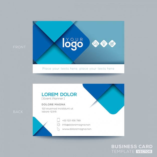 Clean and simple blue business card design Free Vector