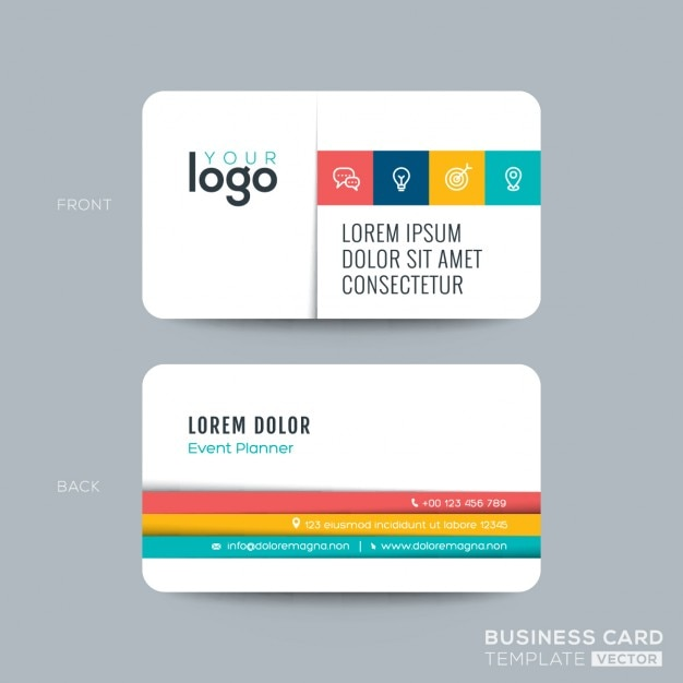 Clean and simple business card Free Vector