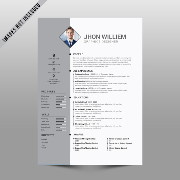 Clean Simple Resume Vector Premium Download