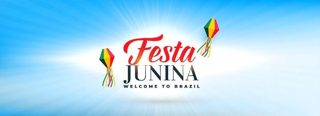 Clean sky with festa junina decorative lamps banner Free Vector