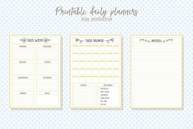 Clean style daily planner vector template. stationery design Premium Vector