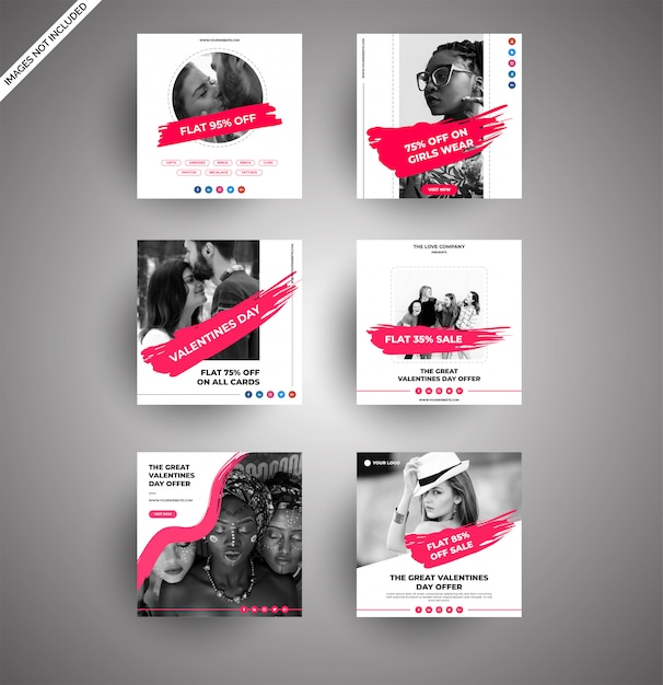 Clean valentine day sale banners for digital marketing Premium Vector