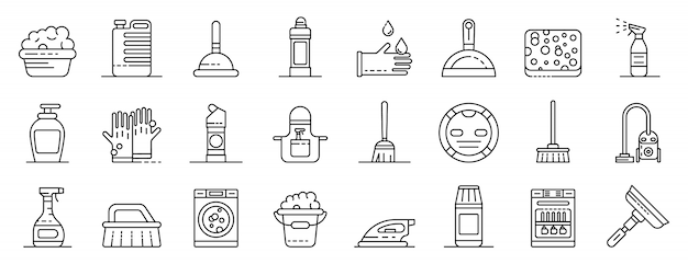 Cleaner equipment icons set, outline style Premium Vector