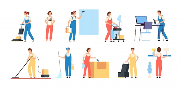Cleaner persons. cleaning service workers male female cleaners in uniform vacuuming housemaids household equipment  characters Premium Vector