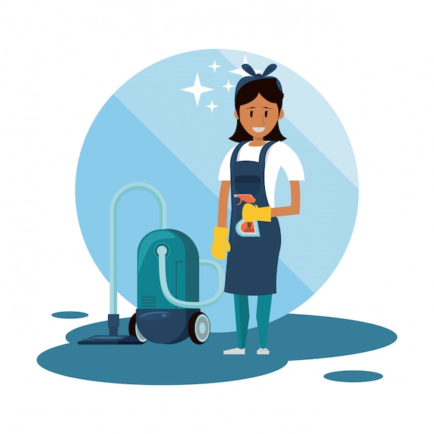 Cleaner with cleaning products housekeeping service Free Vector