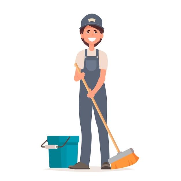 제복을 입은 청소기 여자는 바닥을 청소합니다. 프리미엄 벡터