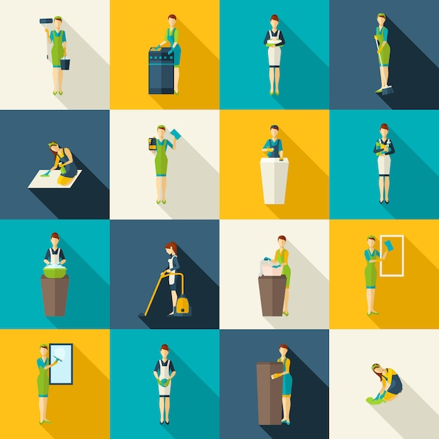 Cleaners color flat icons set Free Vector
