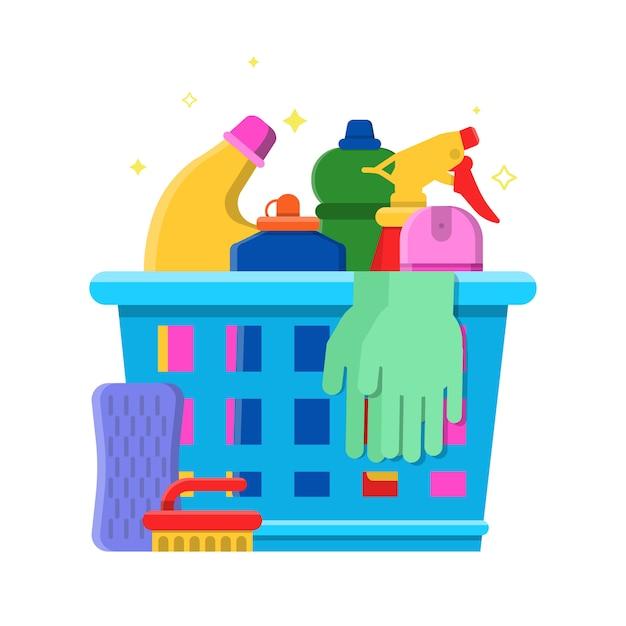 Cleaning bottles basket. detergent laundry service chemical items freshener tools vector flat illustration Premium Vector