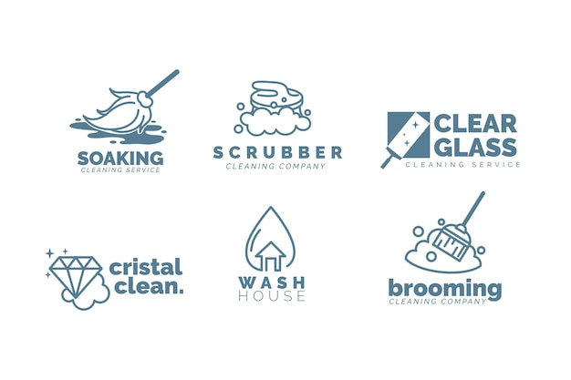 Cleaning business logo template set Free Vector