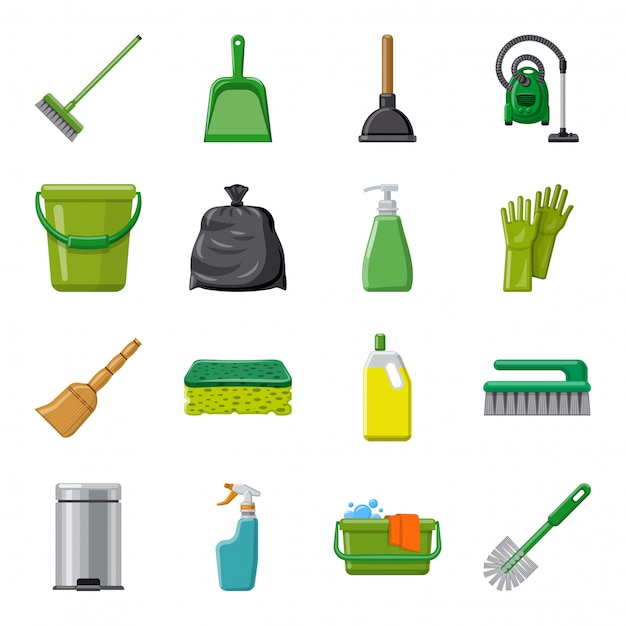 Cleaning cartoon icon set, cleaning service. Premium Vector
