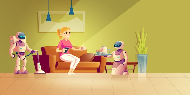 Cleaning and cooking robot cartoon Free Vector