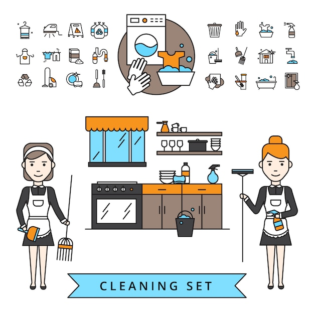 Cleaning design concept Free Vector