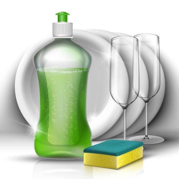 Жидкость для мытья посуды с набором посуды и стаканов. концепция очистки бытовой и кухни. Premium векторы