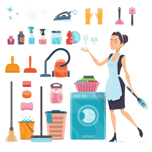 Cleaning elements collection Free Vector