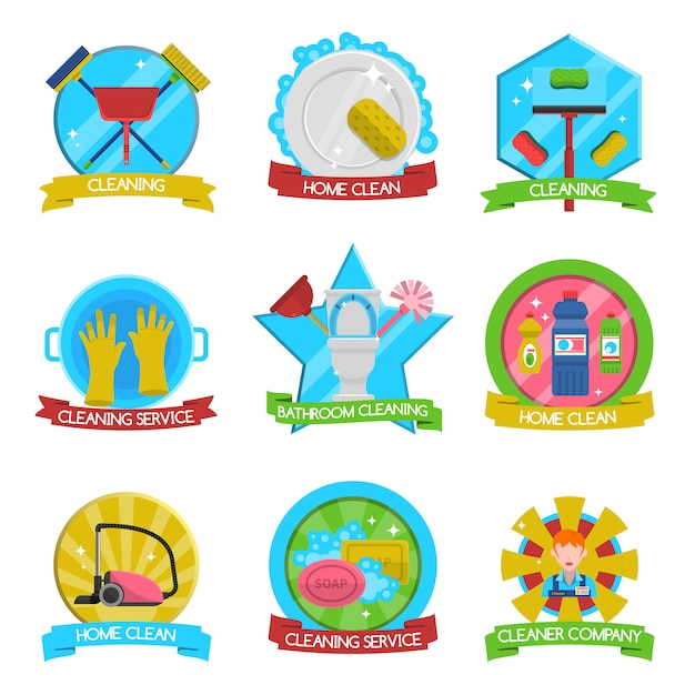 Cleaning emblems set Free Vector