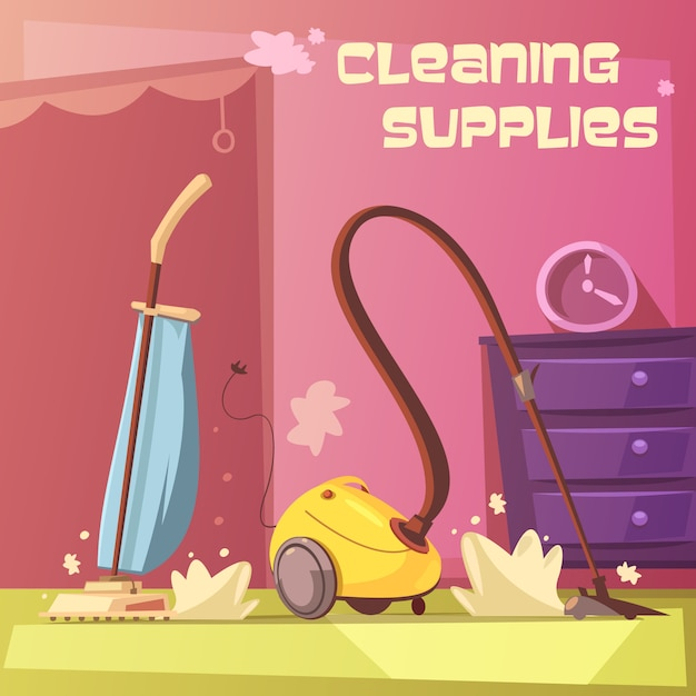 Cleaning equipment cartoon background Free Vector