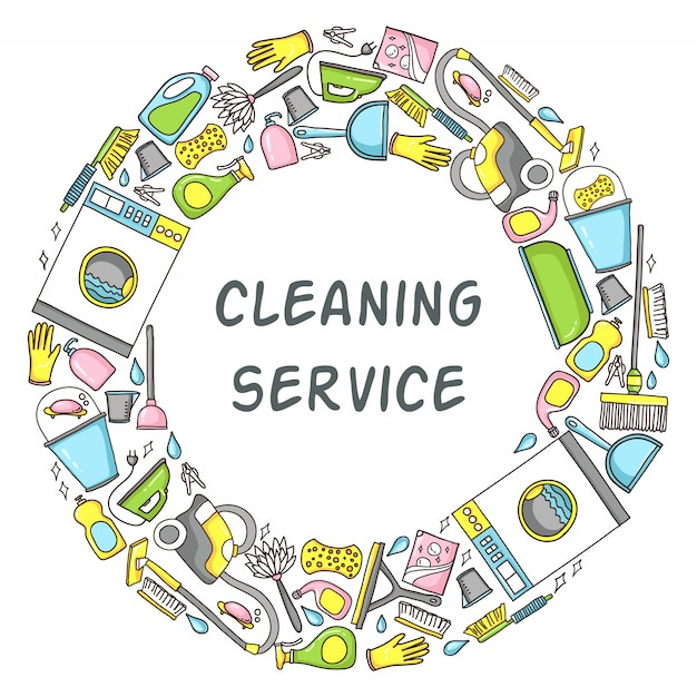 Cleaning equipment circle template Premium Vector