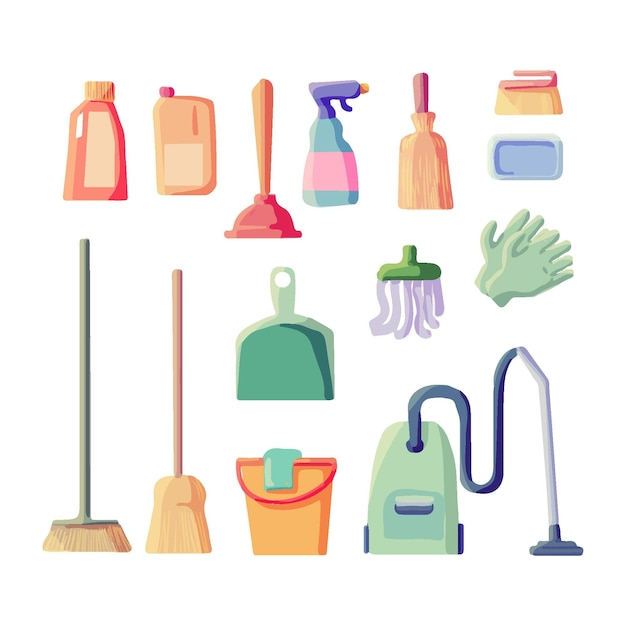 Cleaning equipment set Free Vector