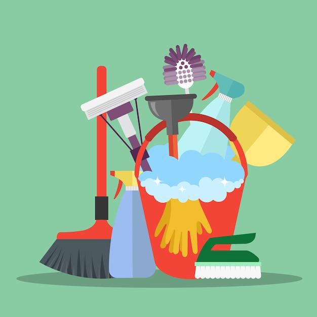 Cleaning equipment Premium Vector