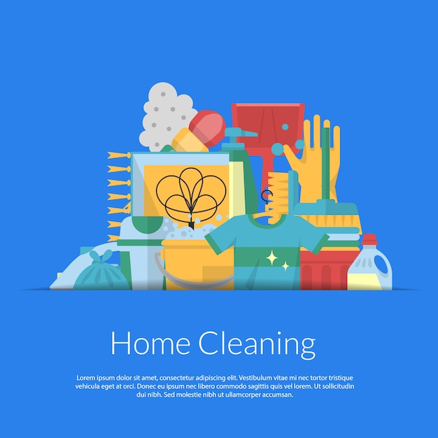 Cleaning flat icons in paper pocket banner Premium Vector