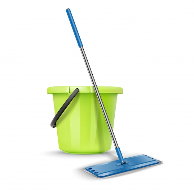 Cleaning greet bucket with broom. isolated on white Premium Vector